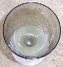 Etched Smoke Wine Glass with Milk Glass Stem