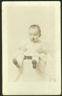 Real Photo Postcard of Nellie Juanita Black 3 months