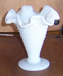 Vintage Milk Glass Hobnail Small Cone Glass Vase