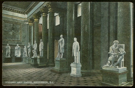Postcard of Statuary Hall, Capitol, Washington DC