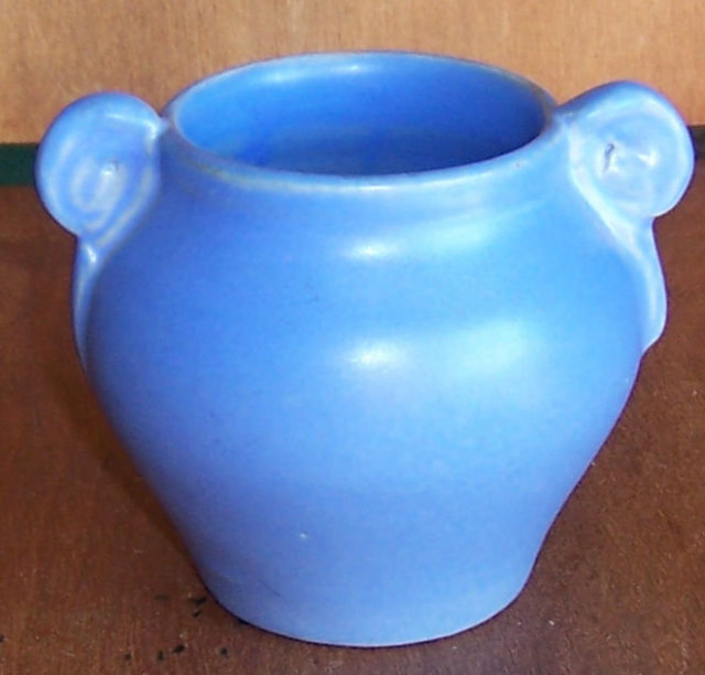 Daniel Boone Pottery Blue Matte Glaze Small Vase with Scroll Handles