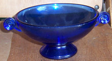 Vintage Cobalt Blue Glass Candy Dish w/ Scroll Handles