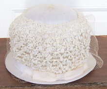 Vintage White Hat with White Bow and White Netting