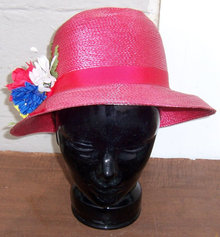 Red Straw Hat with Red White and Blue Flowers