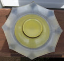 Deco Yellow and Silver Large Divided Serving Bowl