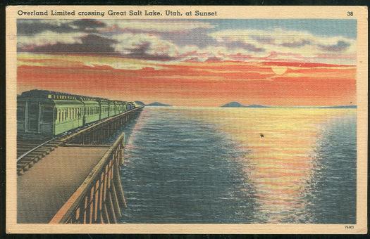Postcard of Overland Limited Crossing Great Salt, Utah