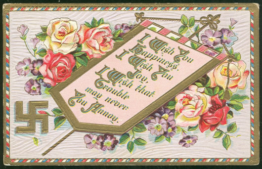 Greetings Postcard with Flowers To Wish You Happiness