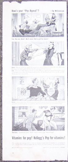 1940 Kellogg's Pep Cereal Magazine Advertisment