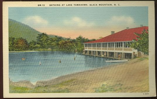 Postcard of Bathing at Lake Tomahawk Black Mountain NC