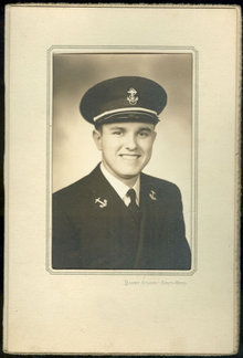 Vintage Framed Photograph of Young Man in Naval Uniform