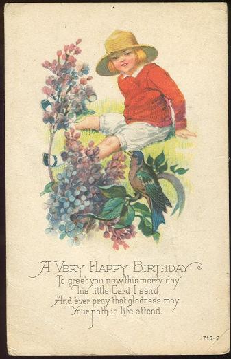 Little Girl in a Garden Wishing You A Happy Birthday