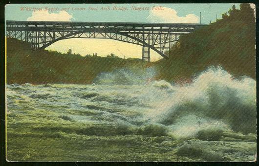 Postcard Whirlpool Rapids and Bridge, Niagara Falls, NY