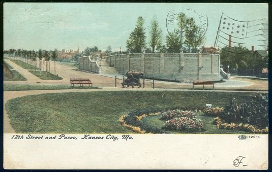 Postcard of 12th Street and Paseo, Kansas City Missouri