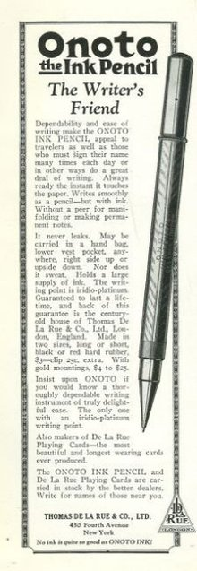 Onoto Ink Pencil 1925 Magazine Advertisement