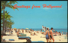 Greetings Postcard of Beach From Hollywood, Florida