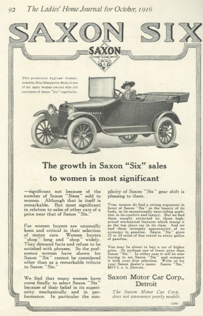 Women Drivers Prefer Saxon Six 1916 Advertisement