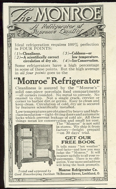 Monroe Refrigerator 1916 Magazine Advertisement