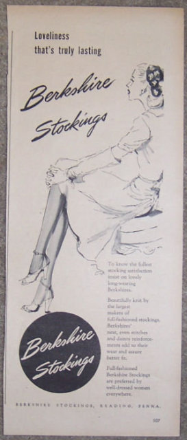 1944 Berkshire Stockings WW II Magazine Advertisement