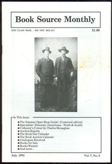 Book Source Monthly Magazine July 1991 Book Collecting