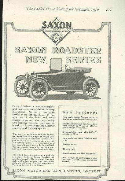 New Series Saxon Roadster 1916 Magazine Advertisement