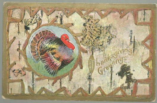 Thanksgiving Greetings Gold Postcard with Turkey