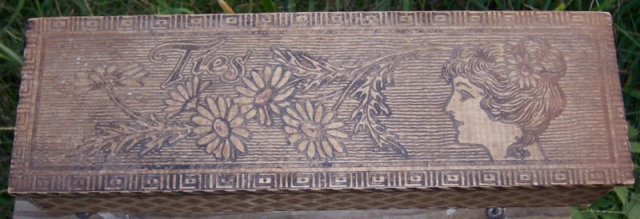Vintage Pyrography Wooden Tie Box with Gibson Girl