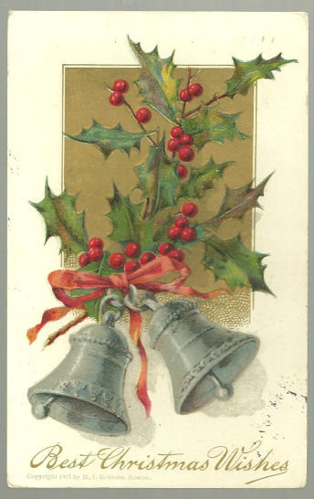 Best Christmas Wishes Postcard Silver Bells and Holly