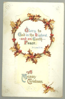 Religious Merry Christmas Postcard with Holly Wreath