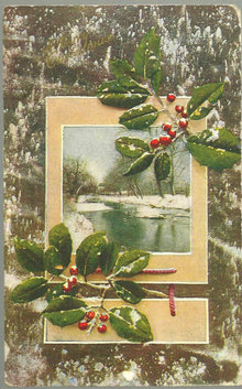 Merry Christmas Postcard with Snow and Holly 1909