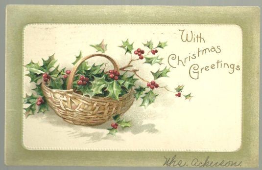 Christmas Greetings Postcard with Holly in a Basket