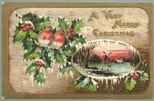 Merry Christmas Postcard with Birds in Snowy Holly 1910