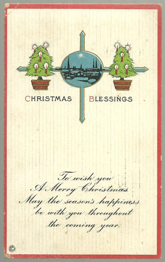 Christmas Blessings Postcard with Trees and Landscape
