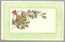 A Merry Christmas Postcard with Holly and Bells