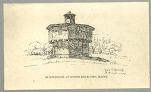 Postcard of Blockhouse at North Edgecomb, Maine