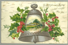 Christmas Wishes Postcard with Silver Bell and Holly