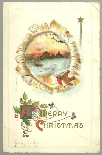 Merry Christmas Postcard with Snowy Landscape and Bird