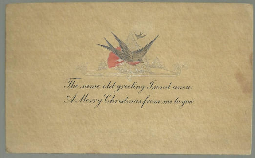 Merry Christmas Postcard with Robins and Silver Tree