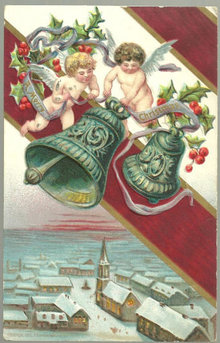 Victorian Christmas Postcard with Cherubs Ringing Bells