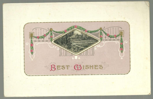 Best Wishes Postcard with Landscape and Garland