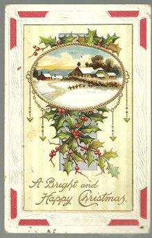 Bright and Happy Christmas Postcard with Landscape 1909