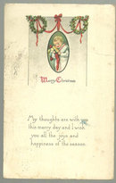 Victorian Merry Christmas Postcard with Little Boy 1916