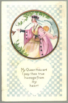 Postcard with with Queen and Angel Among Evergreens