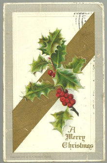 A Very Merry Christmas Postcard with Holly 1907