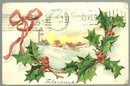 Victorian Christmas Postcard with Snowy Town 1906