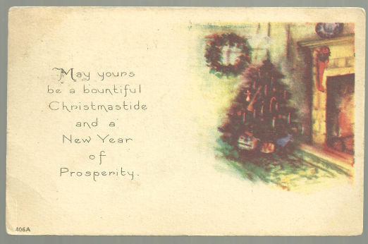 Christmastide and New Year Postcard With Tree 1922