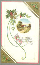 Christmas Greetings Postcard with Country Landscape