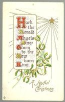 Joyful Christmas Postcard Hark the Herald Angels Sing
