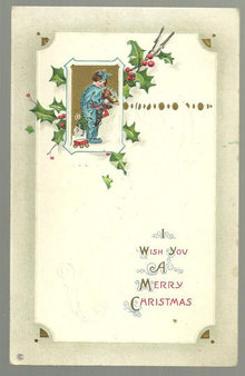 Christmas Wish Postcard With Little Girl & Teddy Bear