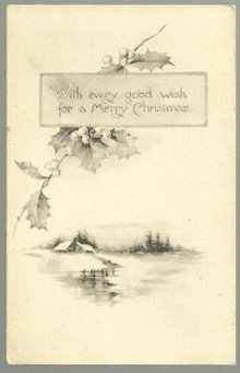 Merry Christmas Postcard With Snowy Landscape and Holly