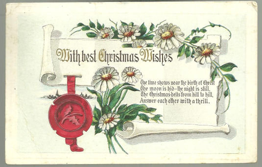With Best Christmas Wishes Postcard with Daises 1913